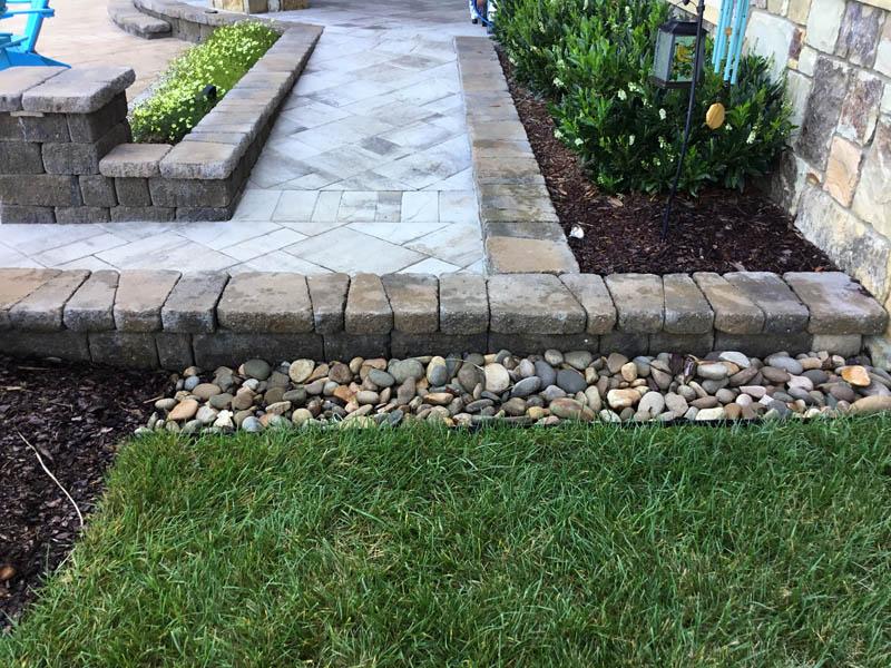 Stone paver sidewalk