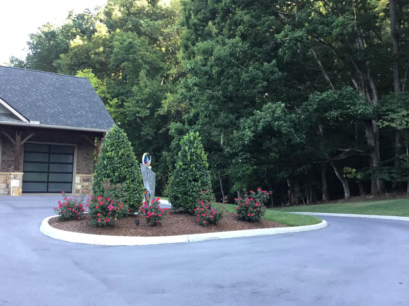 Landscaping in the middle of driveway